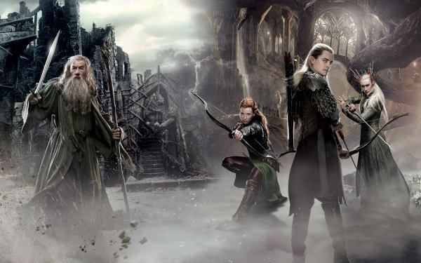 Movie The Hobbit: The Desolation of Smaug Gandalf Elf Legolas Tauriel Thranduil Fog HD Wallpaper | Background Image
