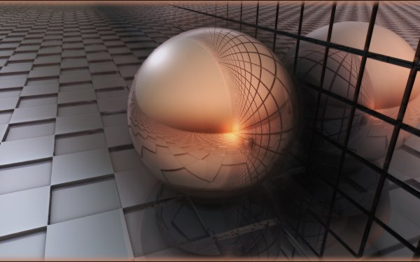 Abstract Ball 3D CGI Grid HD Wallpaper | Background Image