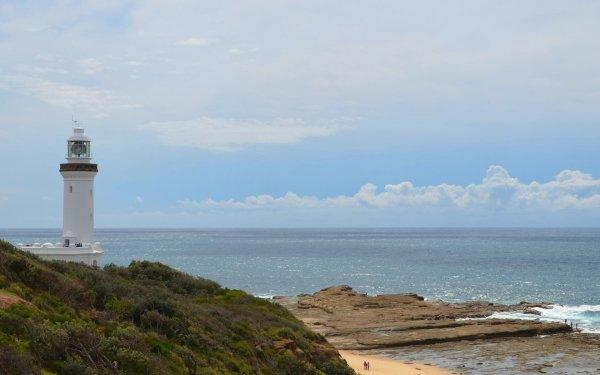 Man Made Norah Head Lighthouse Lighthouse Australia Building Coast Coastline Ocean Rock Norah Head Beach Horizon HD Wallpaper | Background Image