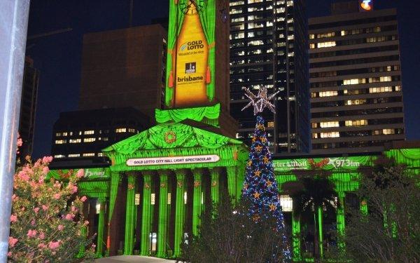 Man Made Brisbane City Hall Buildings Brisbane Building Christmas Tree City Hall Green HD Wallpaper   Background Image
