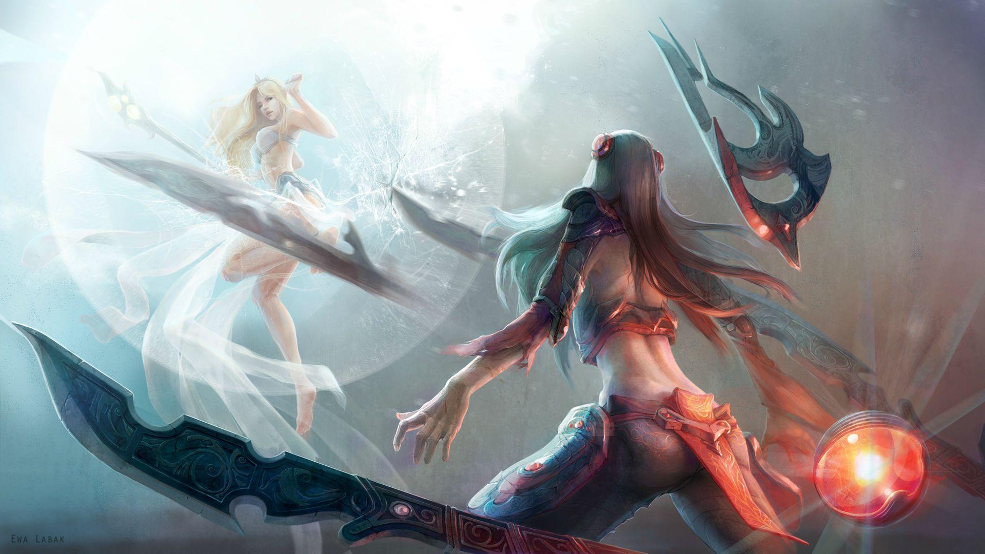 video game league of legends irelia janna wallpaper