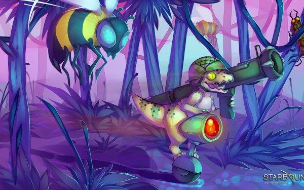 Video Game Starbound Weapon Dinosaur Bee Gun Helmet HD Wallpaper   Background Image
