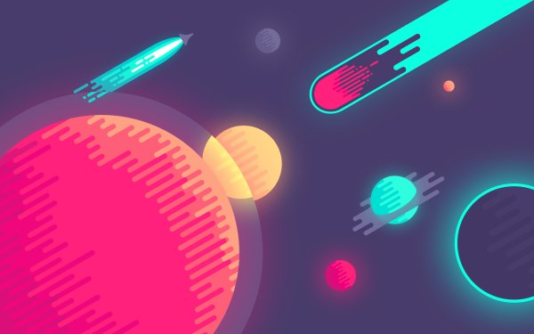 Sci Fi Space Comet Starship Planet Stars Cosmos Minimalist HD Wallpaper | Background Image