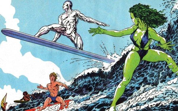 Comics Silver Surfer She-Hulk Surfing Marvel Comics HD Wallpaper   Background Image