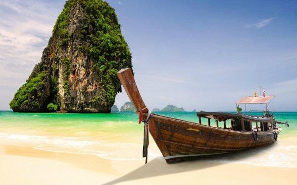 Vehicles Boat Thailand Krabi Beach HD Wallpaper | Background Image