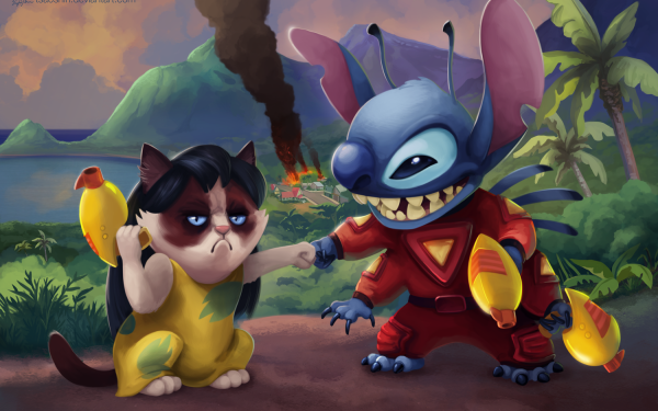 Humor Movie Stitch Grumpy Cat HD Wallpaper | Background Image