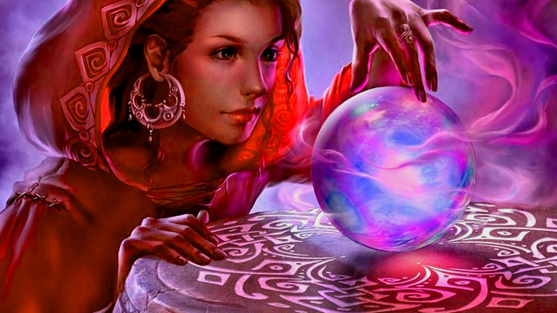 Fantasy - Magic  Woman Fantasy Gypsy Crystal Ball Wallpaper