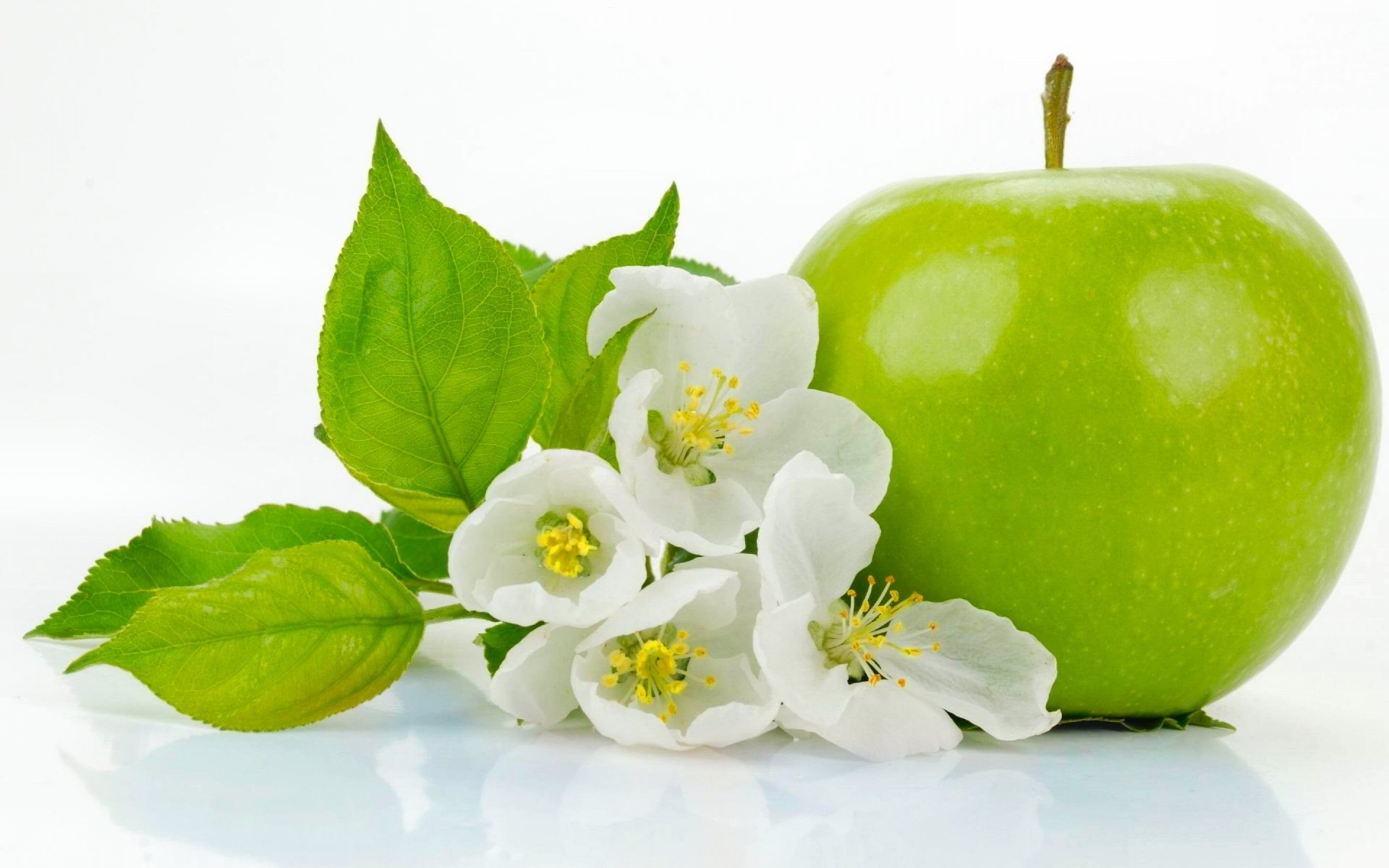 Food - Apple  Green Flower Nature Food Wallpaper