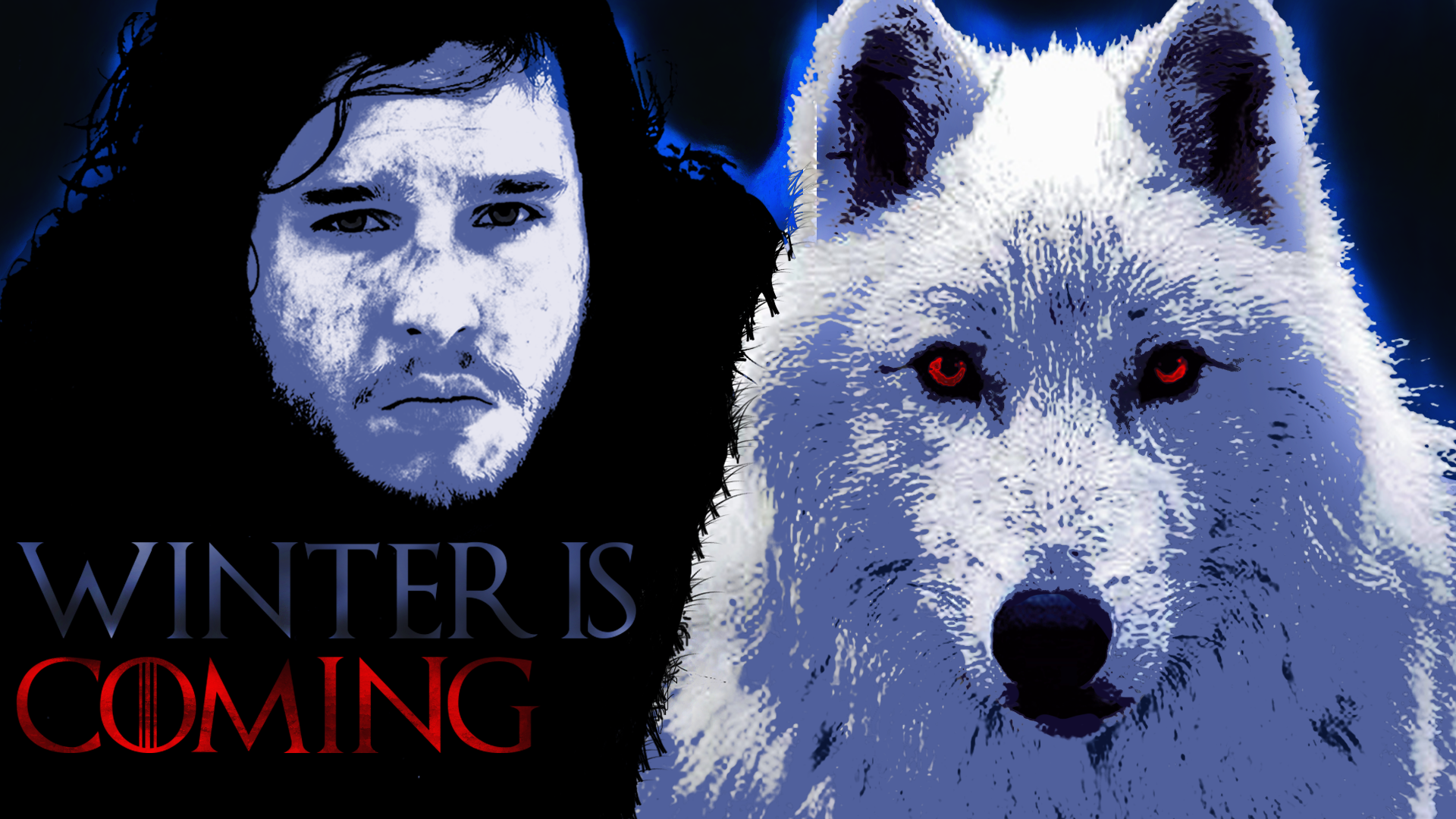 Jon Snow and Ghost Wallpaper HD