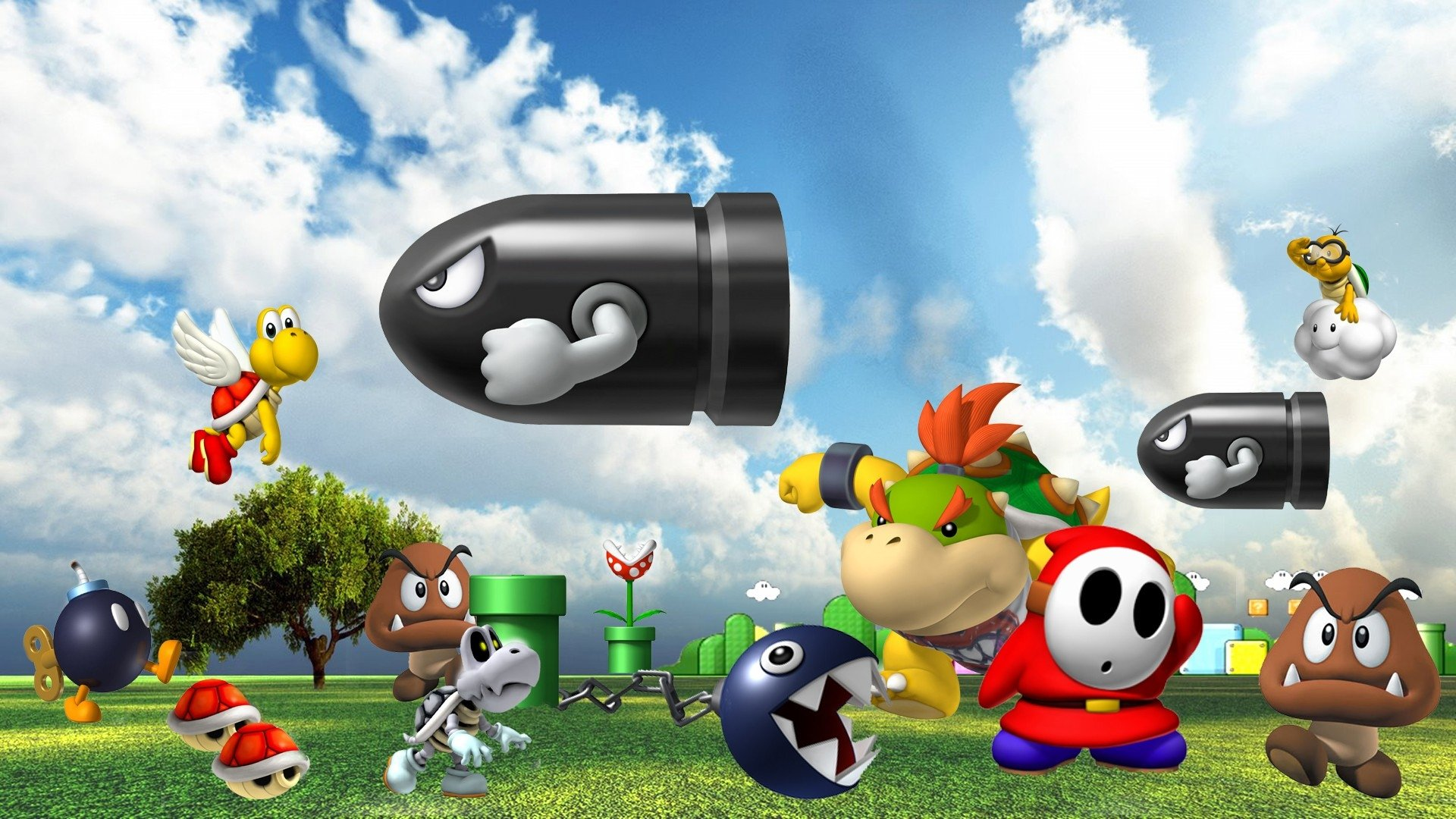 Video Game - Super Mario 64  Bullet Bill Chain Chomp Koopa Troopa Shy Guy Piranha Plant Bob-omb Bowser Jr. Goomba Wallpaper
