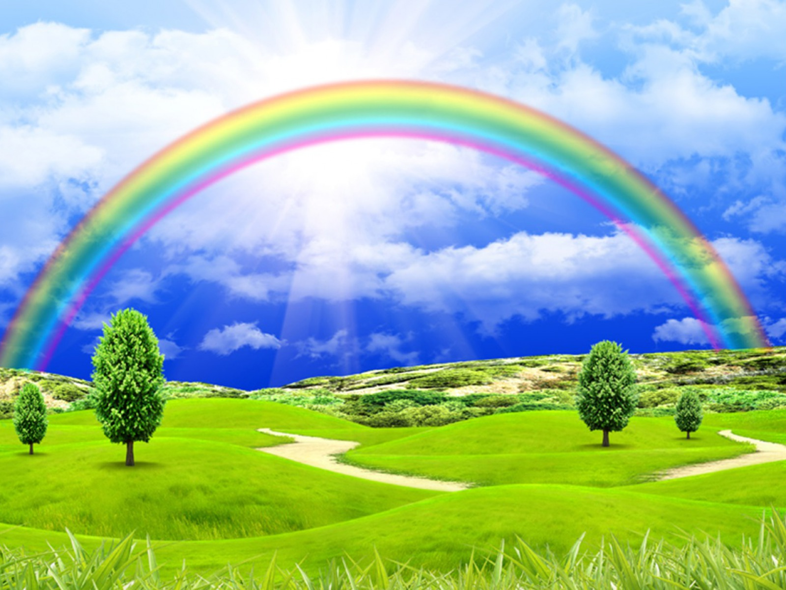 Landscape With Rainbow Wallpaper And Background Image