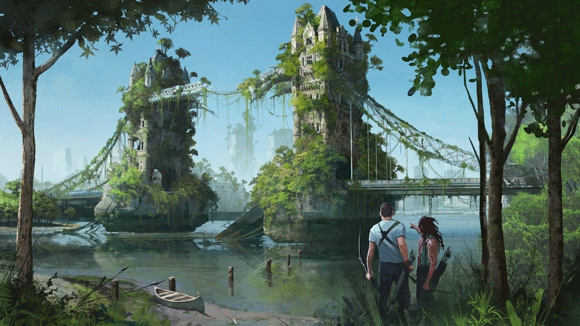 Post apocalyptic hd wallpaper background image - Fantasy wallpaper bridge ...