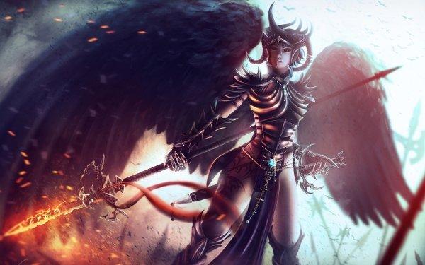 Fantaisie Ange Guerrier(ère) Guerrier Wings Spear Dungeons & Dragons Ange Sombre Armor Horns Fond d'écran HD | Image