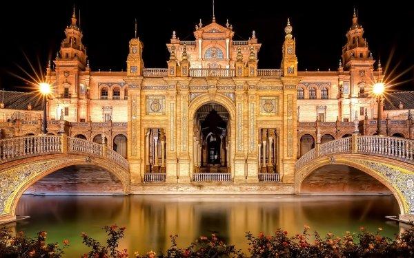 Man Made Plaza de España Monuments Seville Spain HD Wallpaper | Background Image