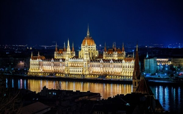 Man Made Hungarian Parliament Building Monuments Budapest Hungary Night HD Wallpaper | Background Image