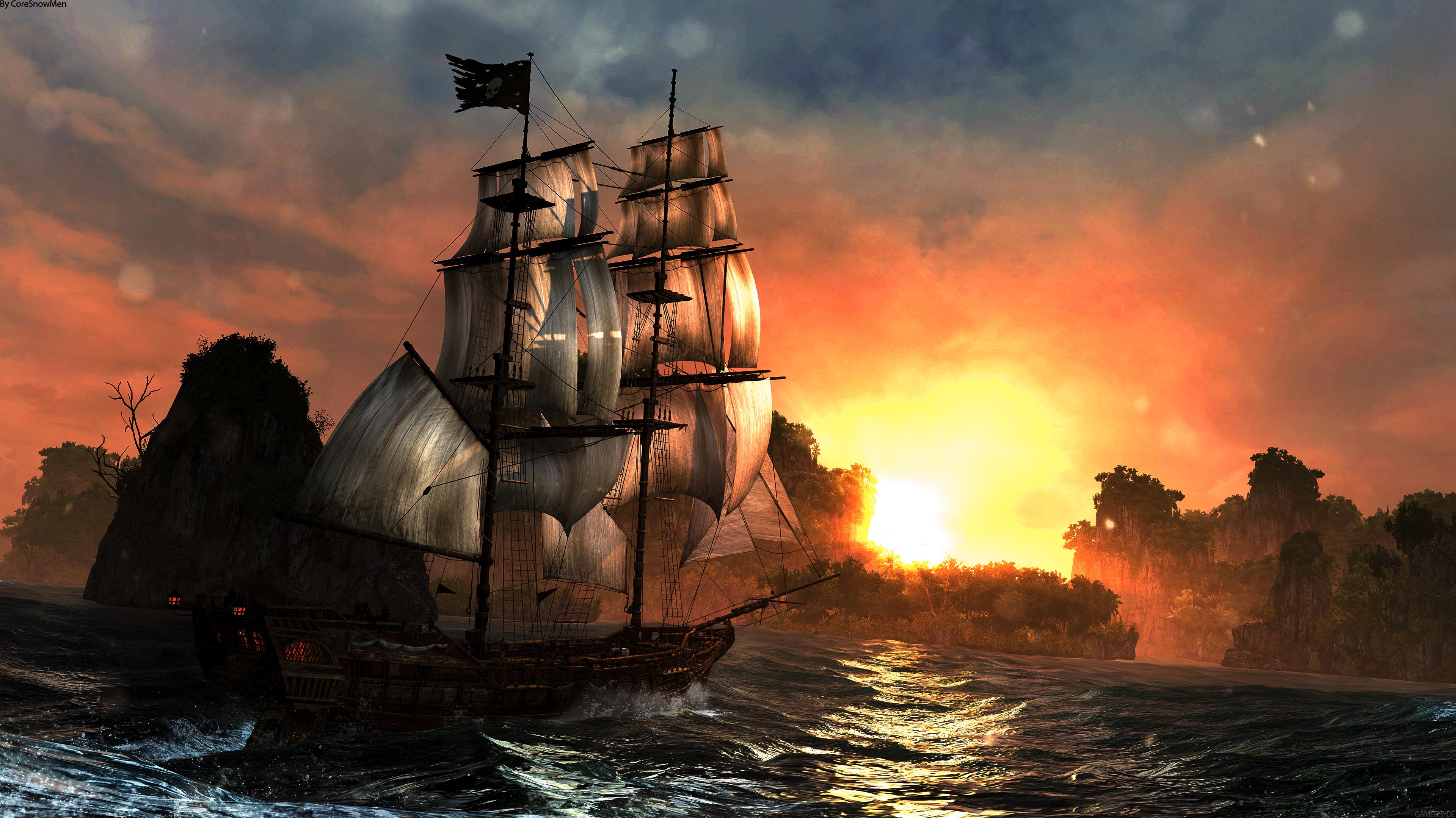 Assassin 39 s creed iv black flag sunset boat sfondi per pc for Assassin s creed sfondi