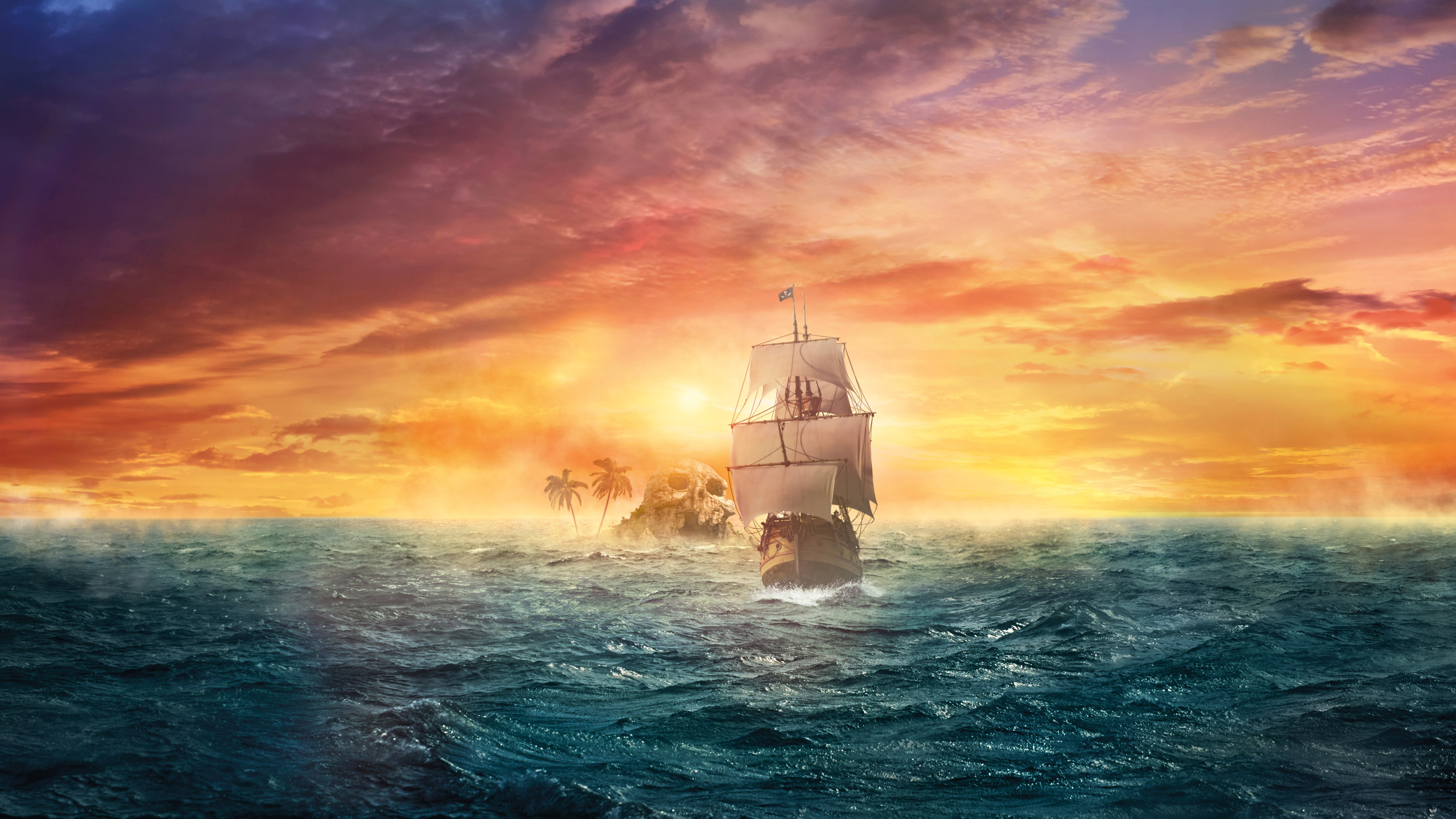 Fantasy - Ship  Pirate Ship Sea Sunset Island Skull Pirate Wallpaper