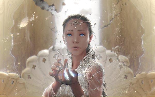 Fantasy Women Tears Neverending Story Blue Eyes HD Wallpaper | Background Image