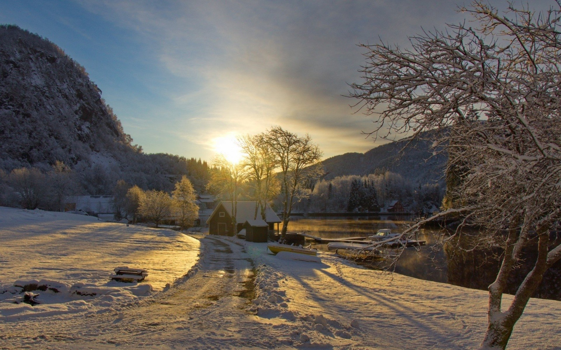 Haus am see wallpaper  Winter Full HD Wallpaper and Hintergrund | 1920x1200 | ID:545527