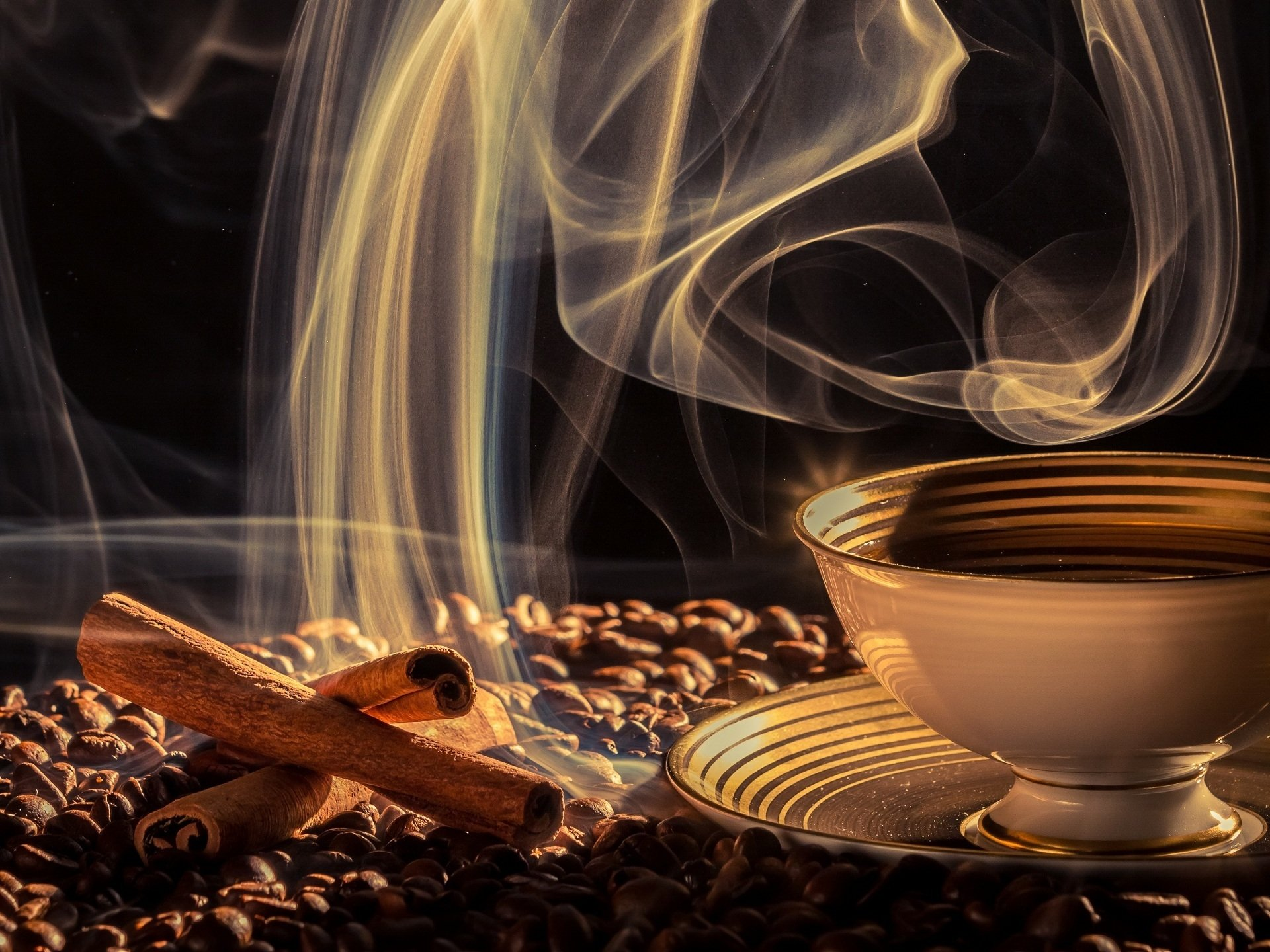 Food - Coffee  Drink Cinnamon Coffee Beans Cup Wallpaper