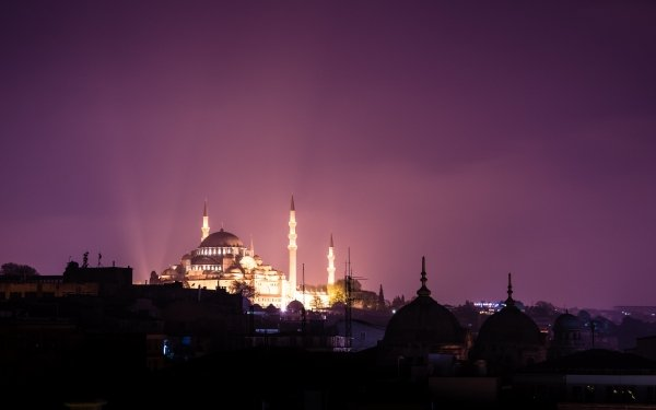 Religious Suleymaniye Mosque Mosques Mosque Religion Islam Night HD Wallpaper | Background Image