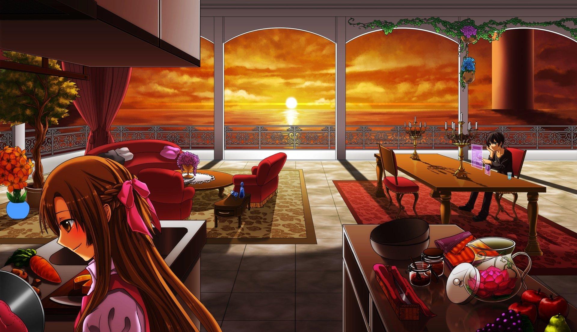 Anime - Sword Art Online  Asuna Yuuki Kirito (Sword Art Online) Girl Boy Terrace Sunset Sea Wallpaper