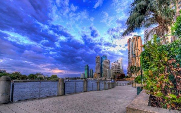 Man Made Brisbane Cities Australia Cloud HD Wallpaper | Background Image