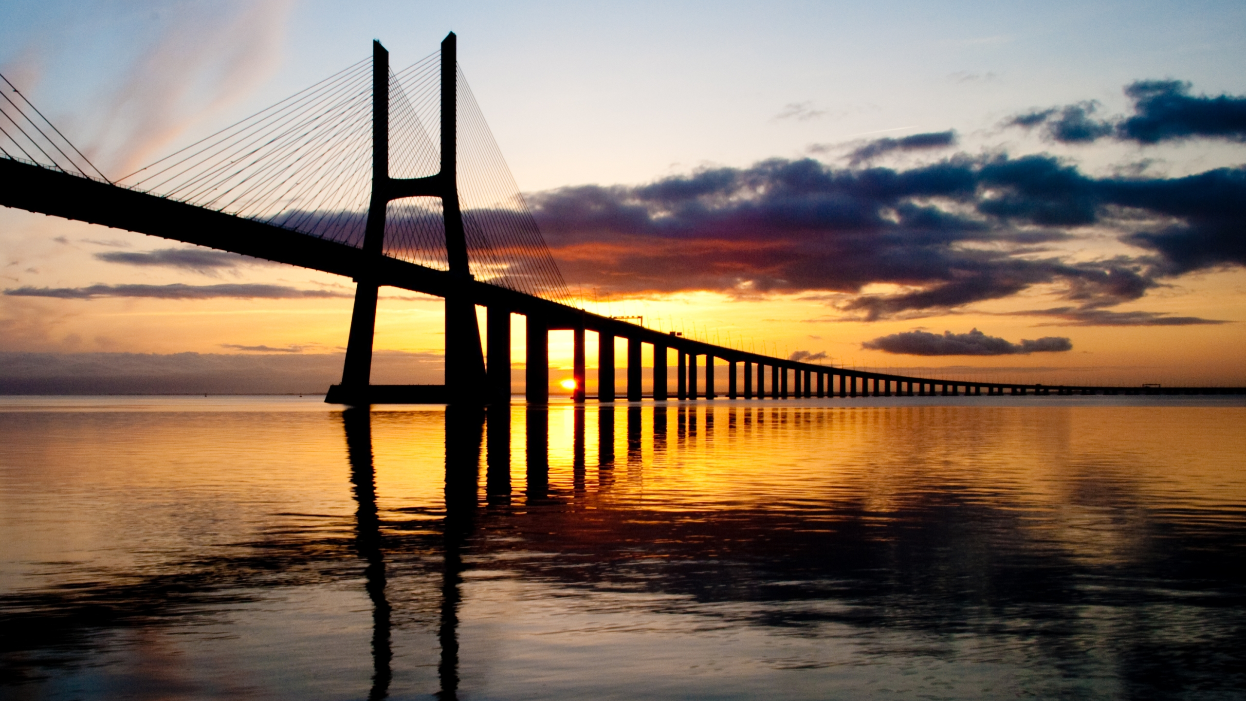 vasco da gama bridge full hd wallpaper and background | 2560x1440