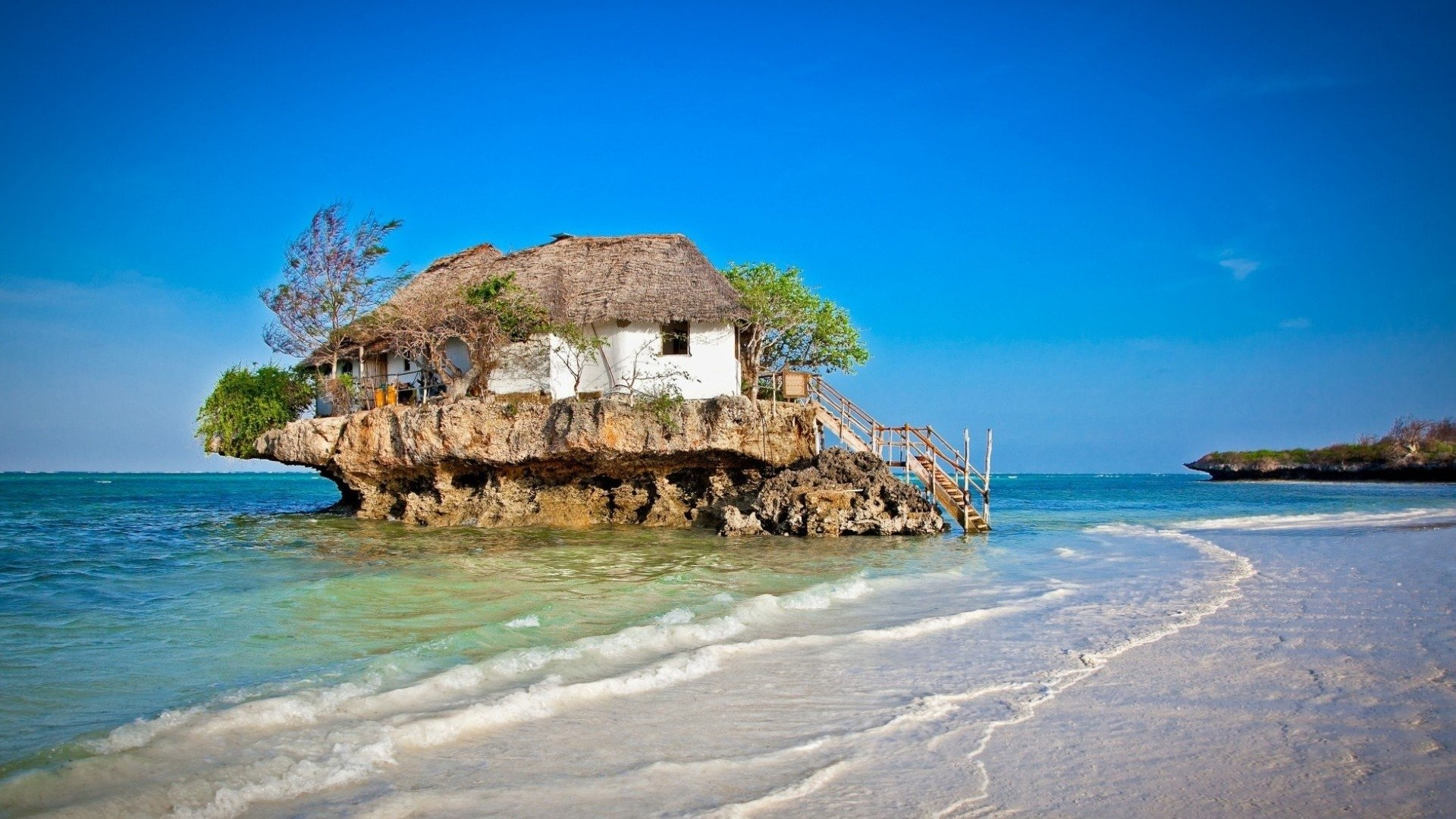 Man Made - House  Zanzibar Rock Seashore Stairs Funny Tree Tanzania Wallpaper