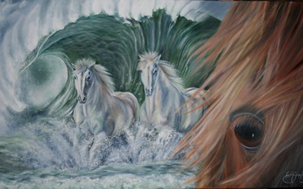 Animal Horse Sea Oil Painting Wave Artistic HD Wallpaper | Background Image