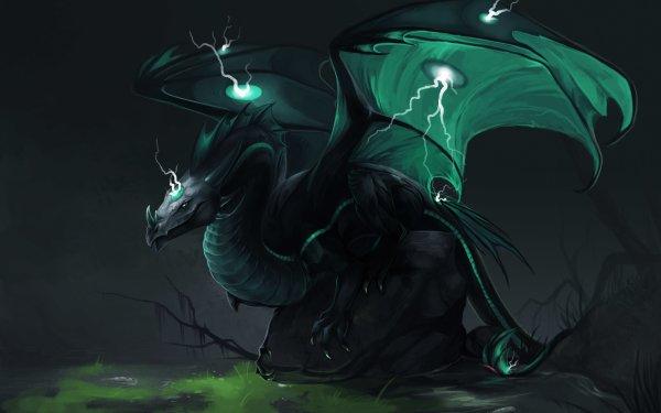 Fantasy Dragon Lightning HD Wallpaper   Background Image