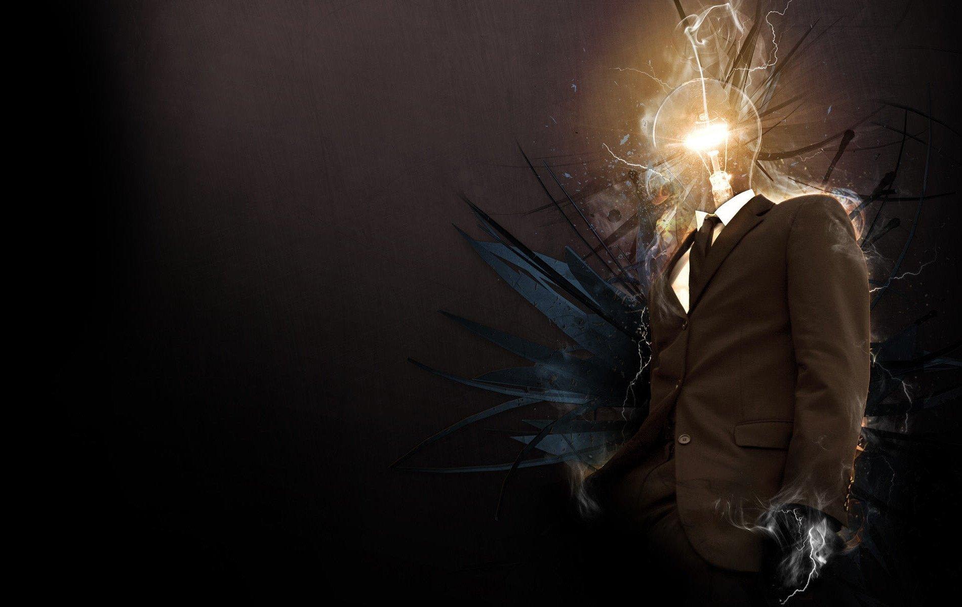 Abstract - Artistic  Man Light Bulb Wallpaper