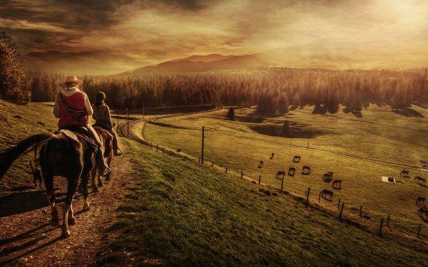 Photographie Horse Riding Cheval Les gens Coucher de Soleil Paysage Fond d'écran HD | Image