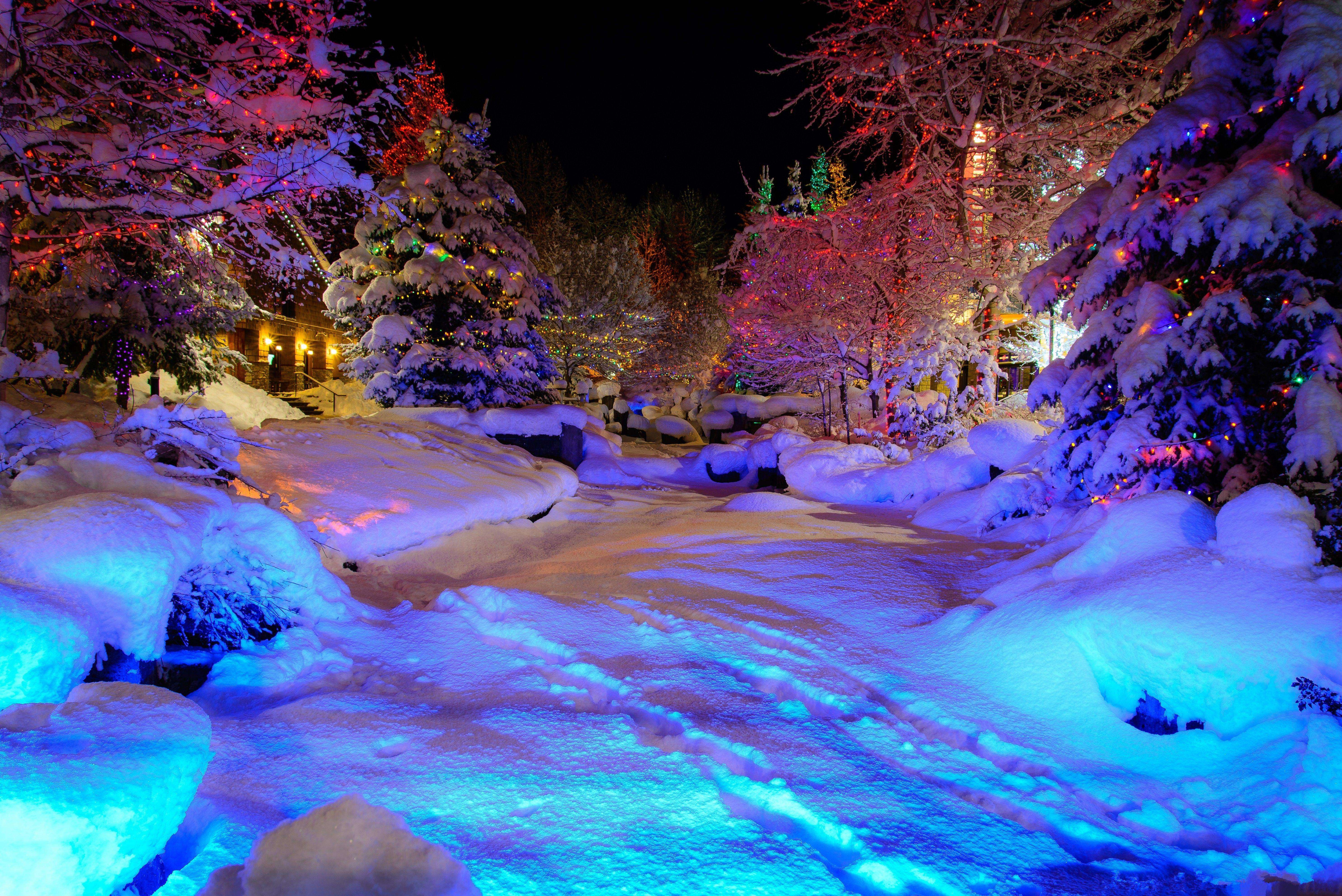 Hd magic winter wallpaper download free - Photography Winter Whistler Village Evening Wallpaper Download