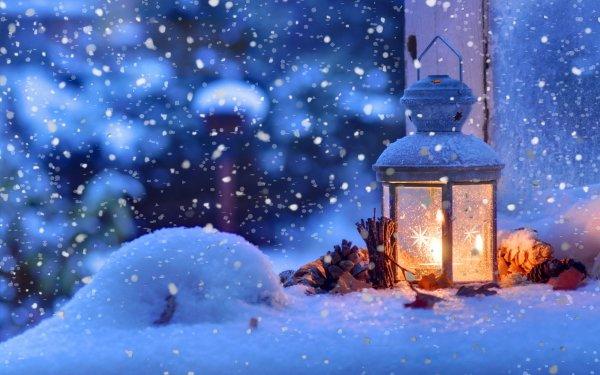 Fotografie Winter Snowfall Snowflake Laterne Weihnachten HD Wallpaper | Hintergrund