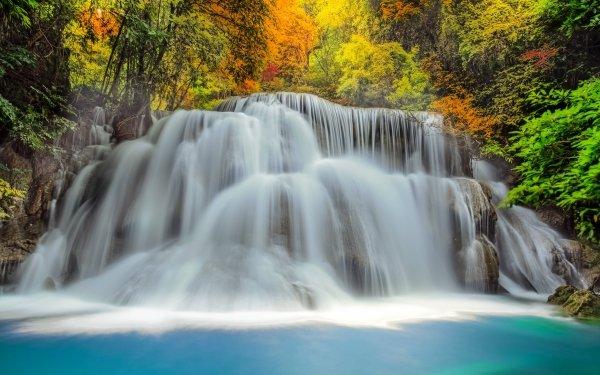 Earth Waterfall Waterfalls Fall Erawan Waterfall Erawan National Park HD Wallpaper | Background Image