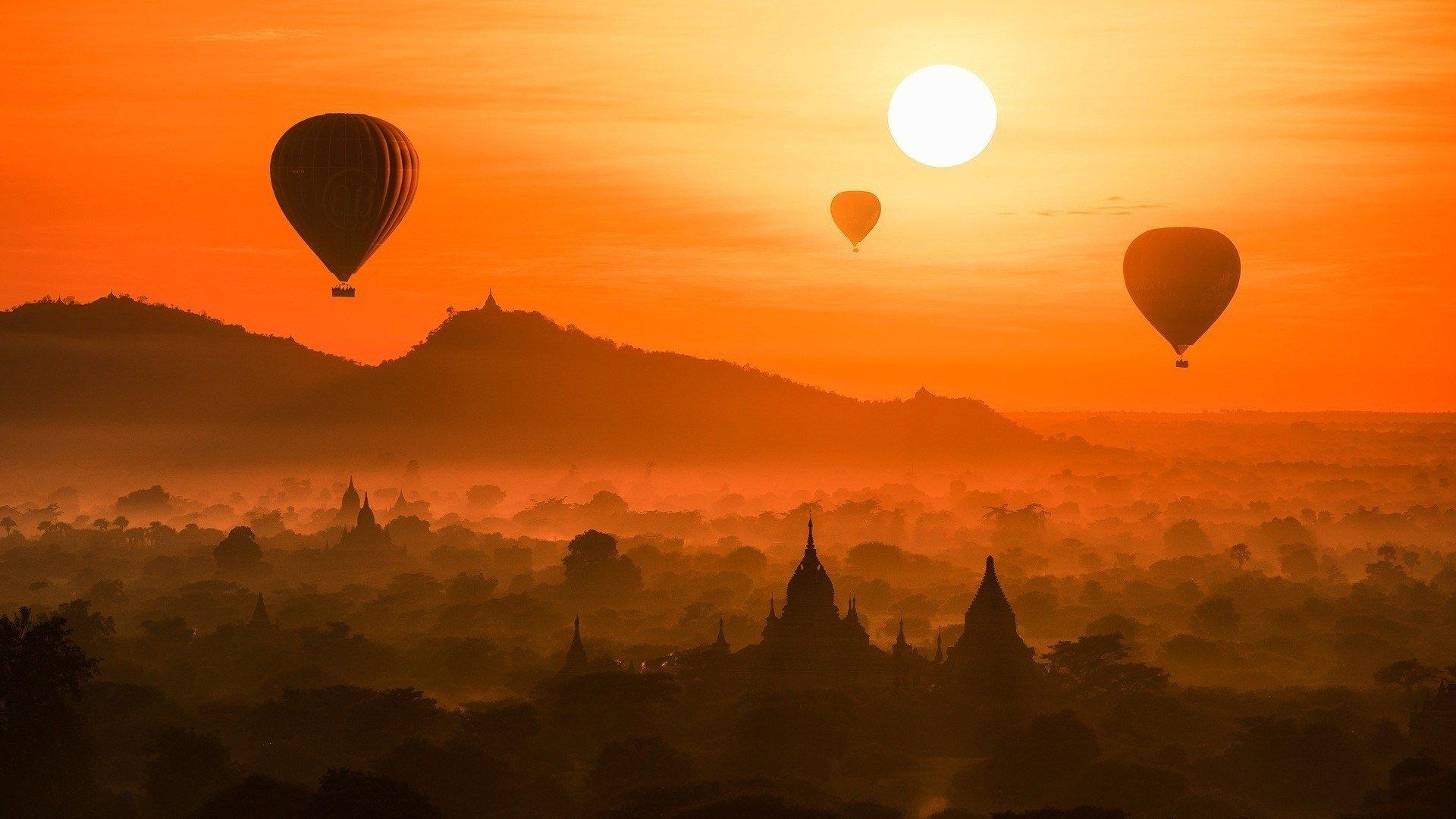 Vehicles - Hot Air Balloon  Myanmar Temple Sunset Wallpaper