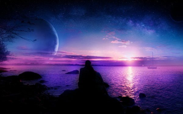 Fantasy Landscape Romantic People Love Ocean HD Wallpaper | Background Image