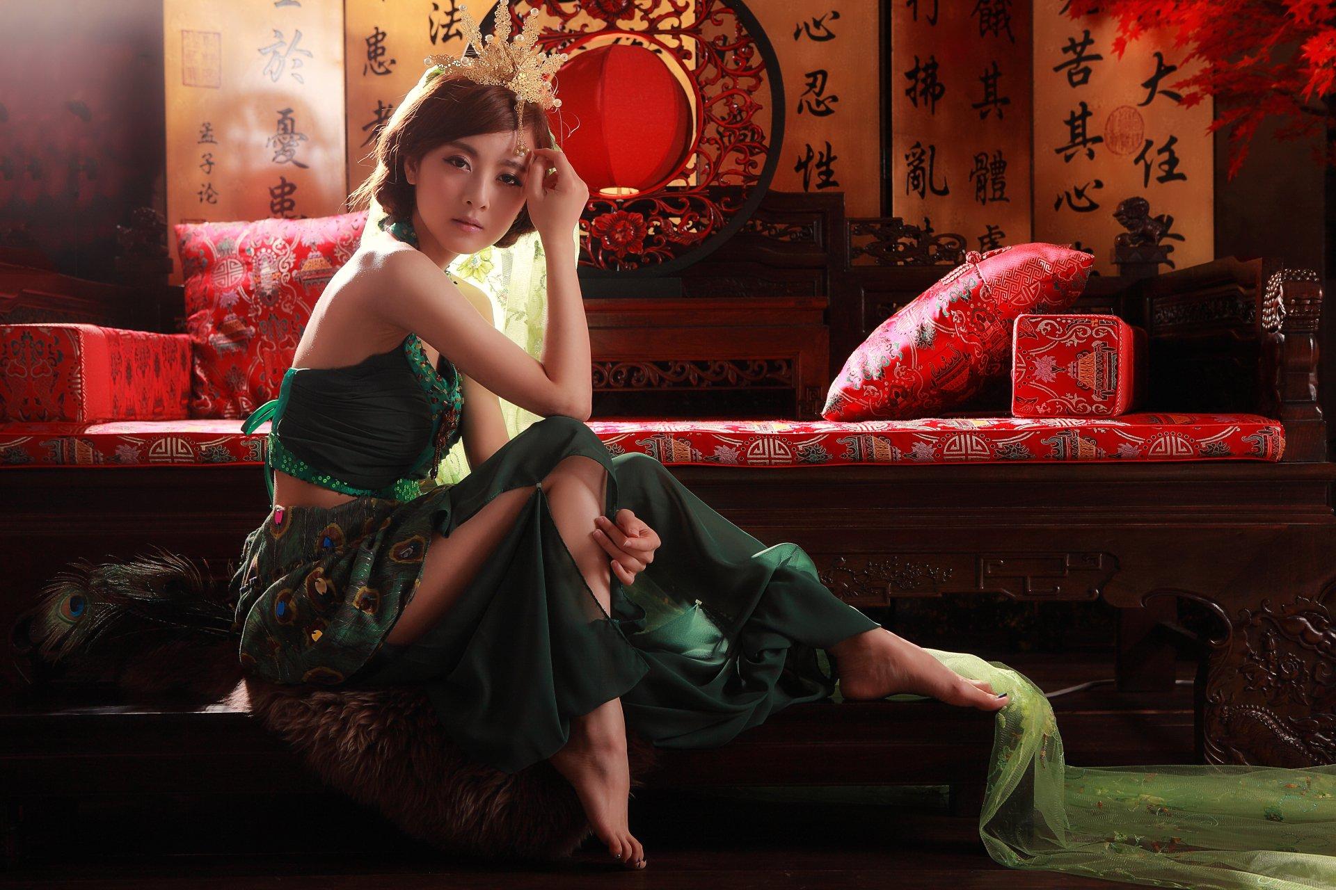 Women - Mikako Zhang Kaijie  Taiwanese Mikao Pillow Sofa Skirt Asian Girl Wallpaper