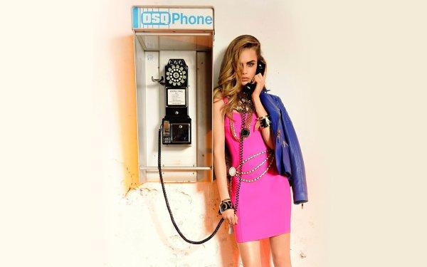 Celebrity Cara Delevingne Models United Kingdom Actress Model Blonde Telephone HD Wallpaper   Background Image