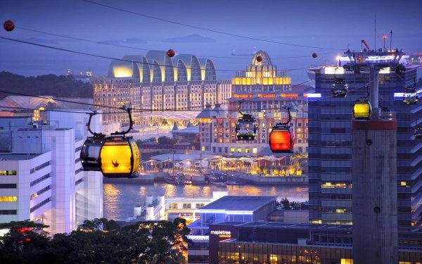 Man Made Singapore Cities Oriental Quay Sea Evening Island City HD Wallpaper | Background Image