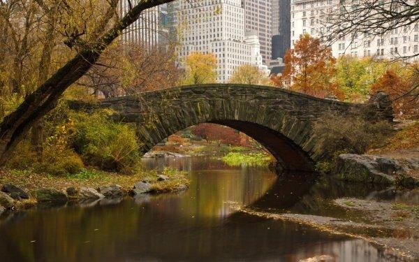 Man Made Bridge Bridges Central Park Manhattan New York Gapstow Bridge HD Wallpaper | Background Image