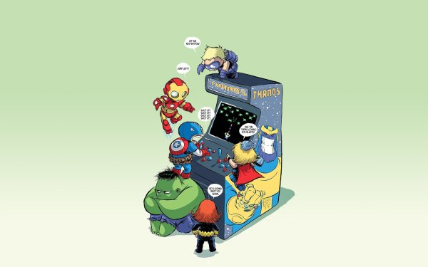 Comics Baby Avengers Marvel Comics Baby Funny Hulk Black Widow Thor Hawkeye Iron Man Captain America HD Wallpaper | Background Image