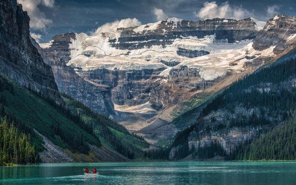 Earth Lake Louise Lakes Canada Banff Alberta Mountain Lake Canoe HD Wallpaper | Background Image