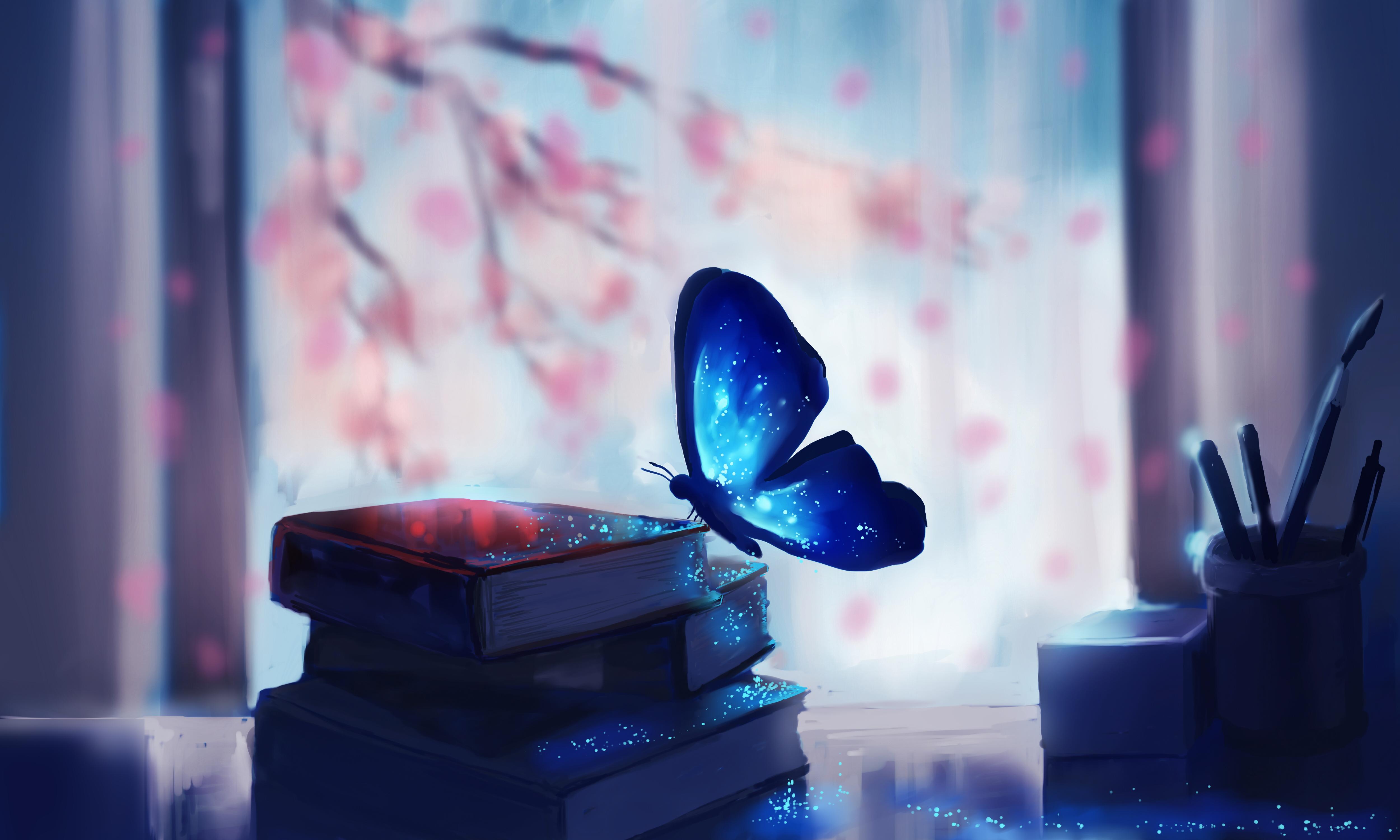 Wallpaper Blue Butterfly On Book