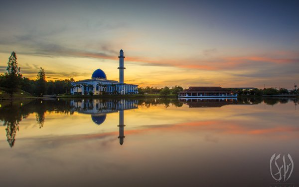 Religious Mosque Mosques Malaysia Architecture Sunset Sunrise Reflection HD Wallpaper | Background Image