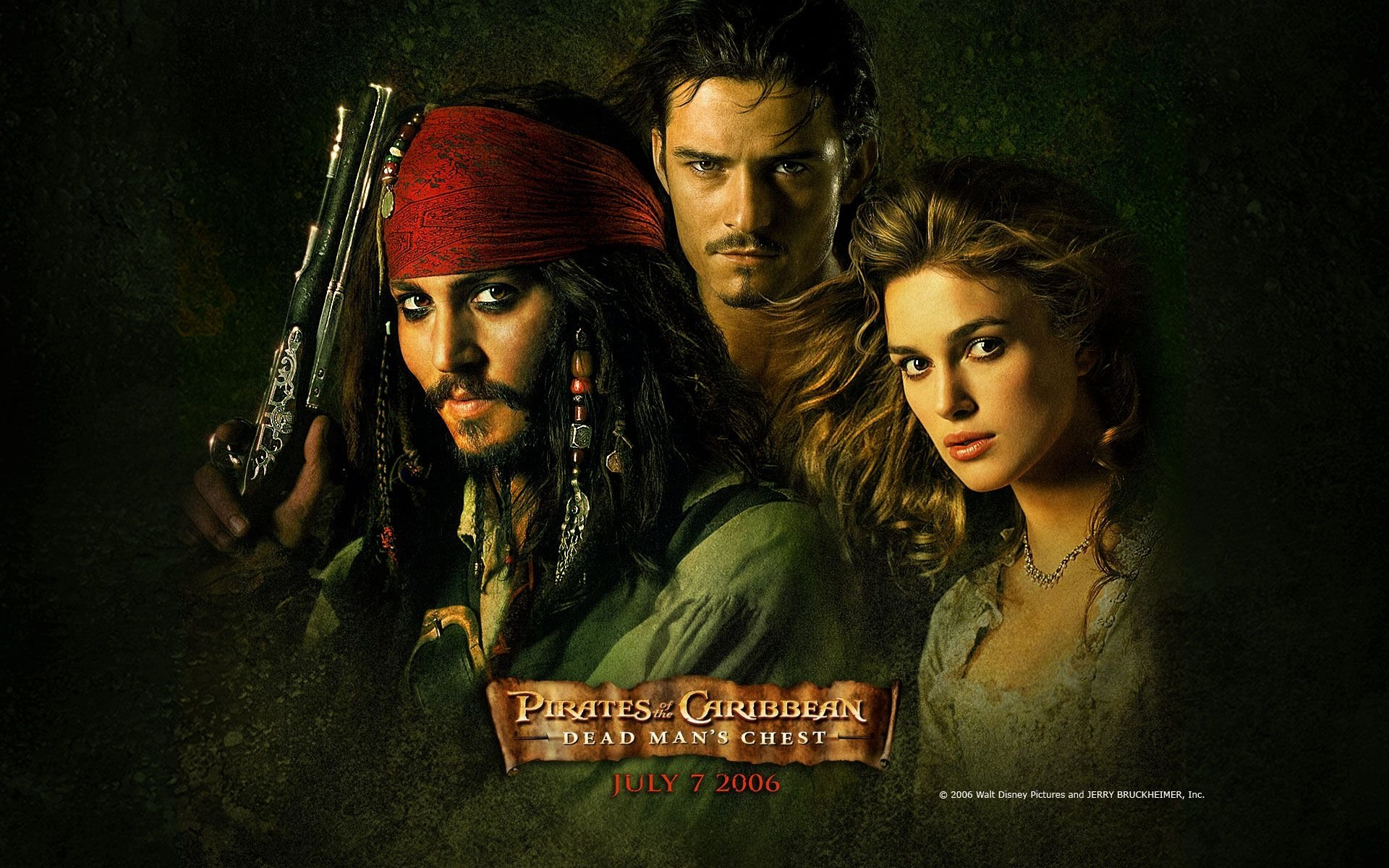Movie - Pirates Of The Caribbean: Dead Man's Chest  Movie Johnny Depp Jack Sparrow Orlando Bloom Keira Knightley Elizabeth Swann Wallpaper