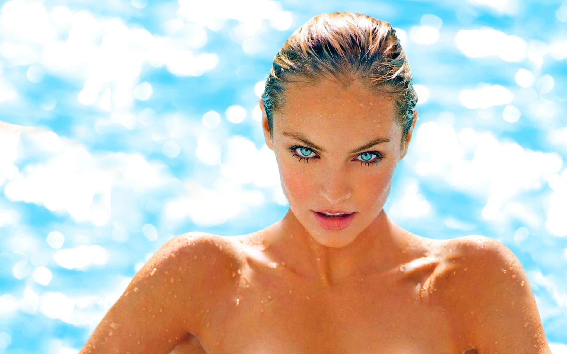 Women - Candice Swanepoel  Sunny Summer Blue Eyes Face Wallpaper