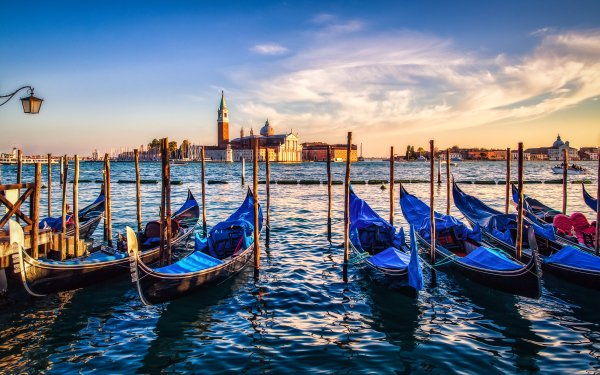 Vehicles Gondola Venice Sunset Italy Grand Canal HD Wallpaper | Background Image