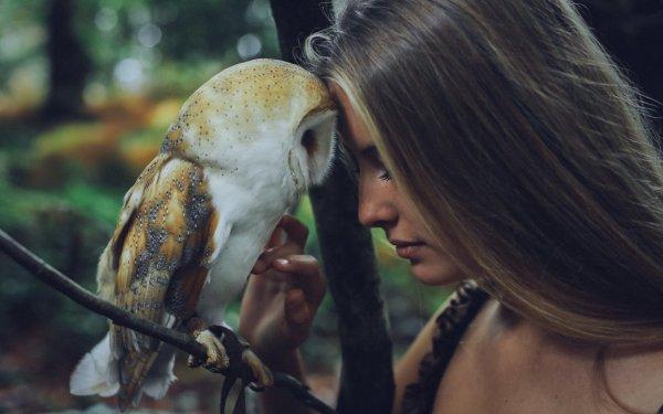 Women Model Models Blonde Owl Mood Barn Owl HD Wallpaper | Background Image